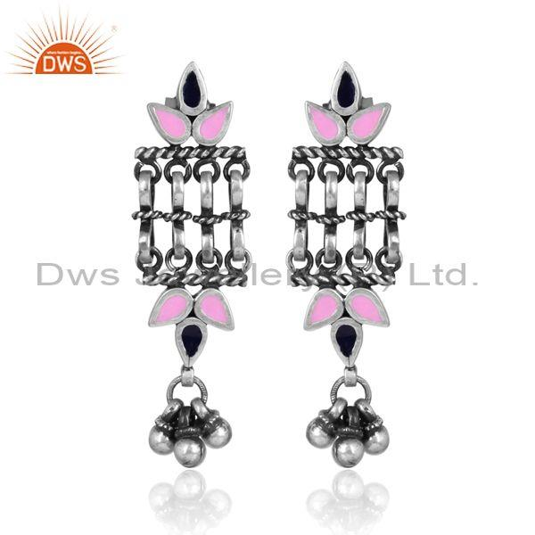 Oxidized silver and pink enamelled ethnic designer earrings