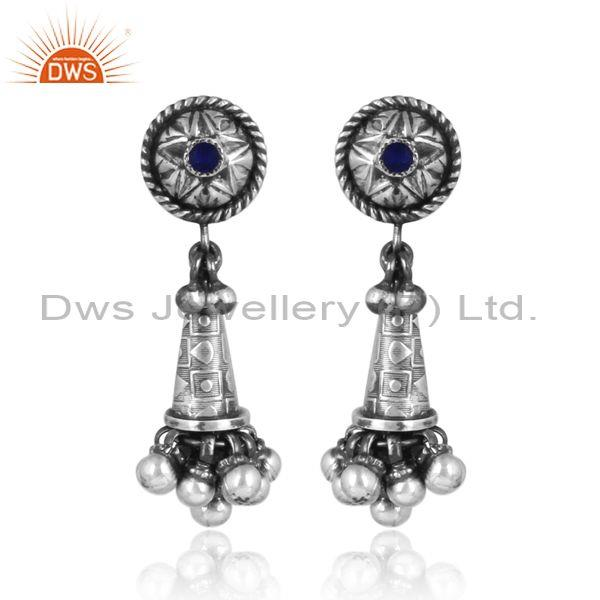 Oxidized Sterling Silver Carved Jhumka Style Ethnic Earrings