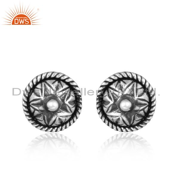 Handmade Star Shaped Oxidized Silver Stud Earrings
