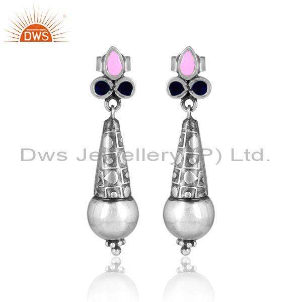 Pink enamel oxidized silver carved designer drop earrings