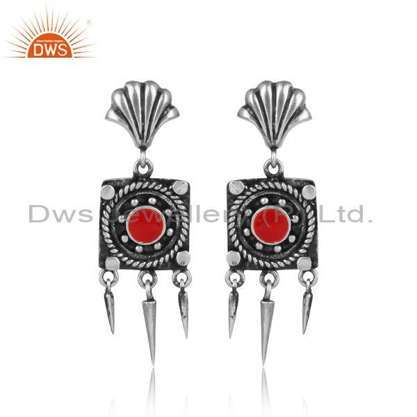 Oxidized Silver Square Shaped Ethnic Boho Carved Earrings