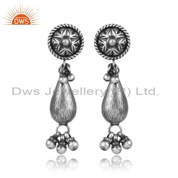 Oxidized silver traditional tear drop statement earrings