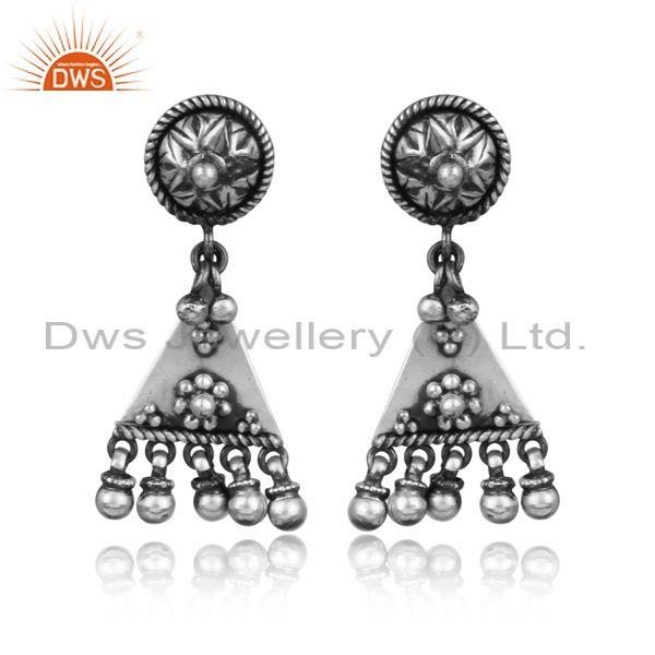 Handmade oxidized silver triangular designer ethnic earrings