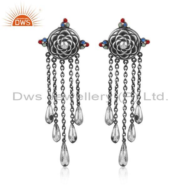 Handmade Oxidized Silver Intricate Designer Dangler Earrings