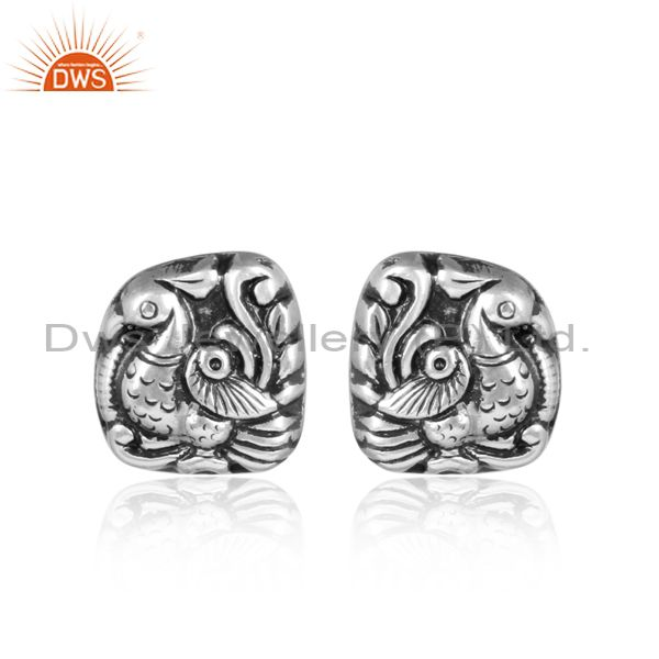Peacock Impressed Handmade Ethnic Silver Stud Earrings