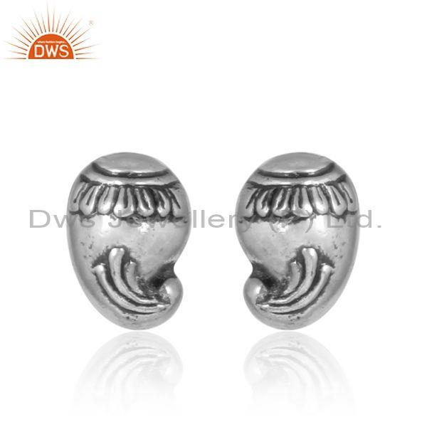 Handcrafted Traditional Oxidized 925 Silver Stud Earrings