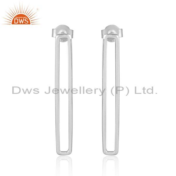 Handmade Fine Sterling Silver Long Drop Fashion Earrings