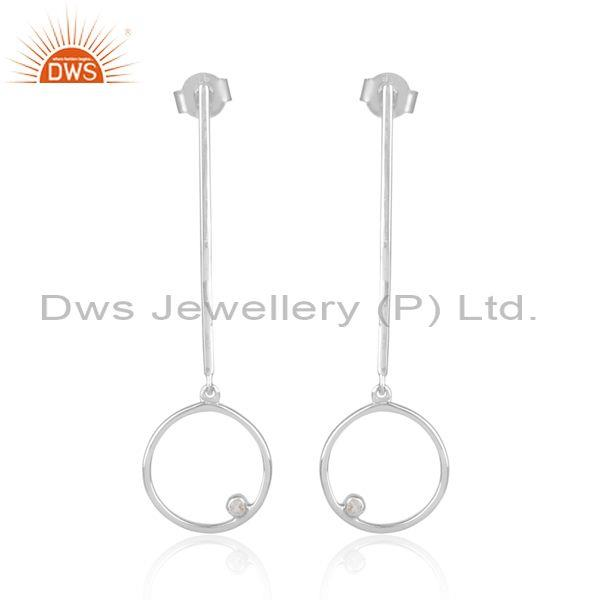 White topaz set fine 925 sterling silver long drop earrings