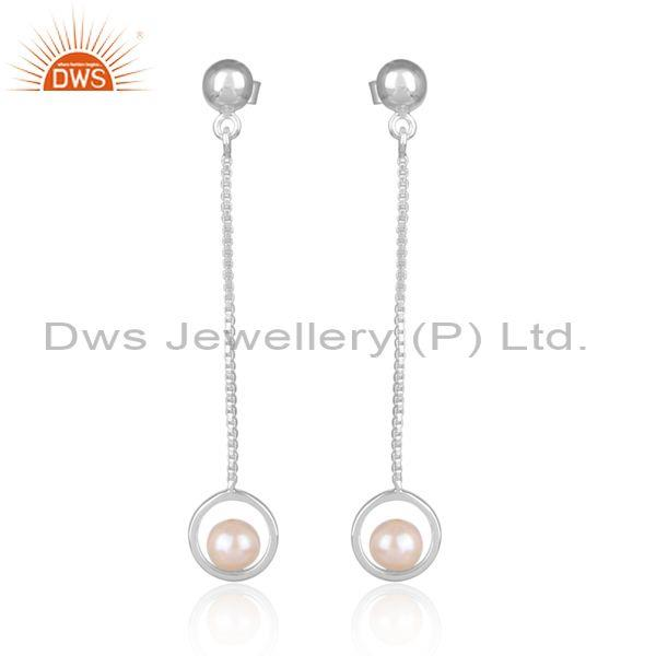 Round Pearl Beads Set Fine Sterling Silver Long Earrings