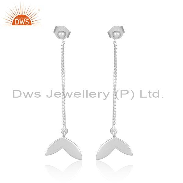 Handmade Designer Fine Sterling Silver Long Drop Earrings
