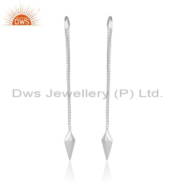 Fine Sterling Silver Handmade Arrow Ends Long Drop Earrings