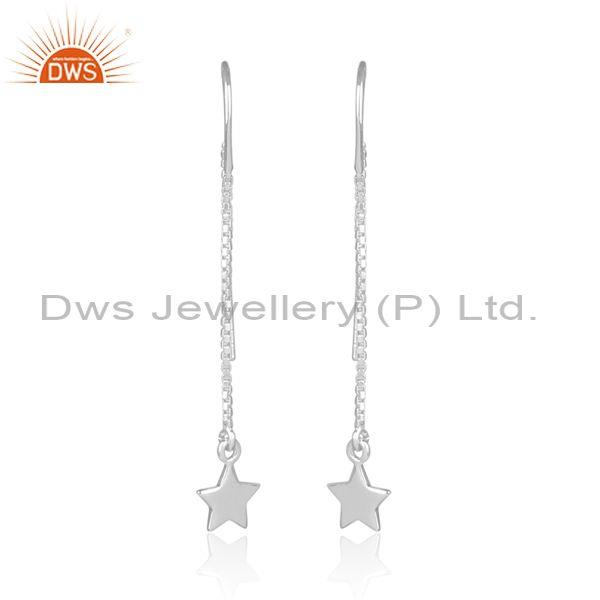 Fine Sterling Silver Handmade Star Ends Long Drop Earrings