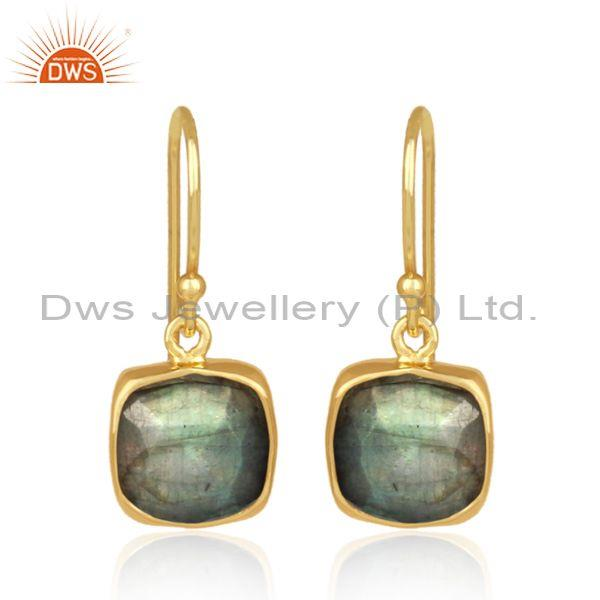 Square labradorite set gold on 925 silver earrwire earrings