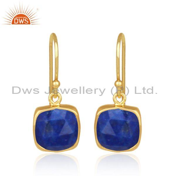 Square cut lapis set gold on 925 silver earrwire earrings