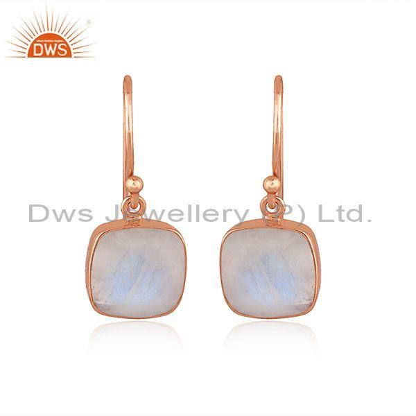 Square rainbow moon stone set rose gold on silver earrings