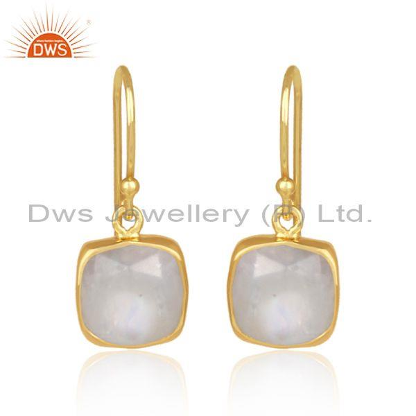 Square rainbow moon stone gold on silver earrwire earrings