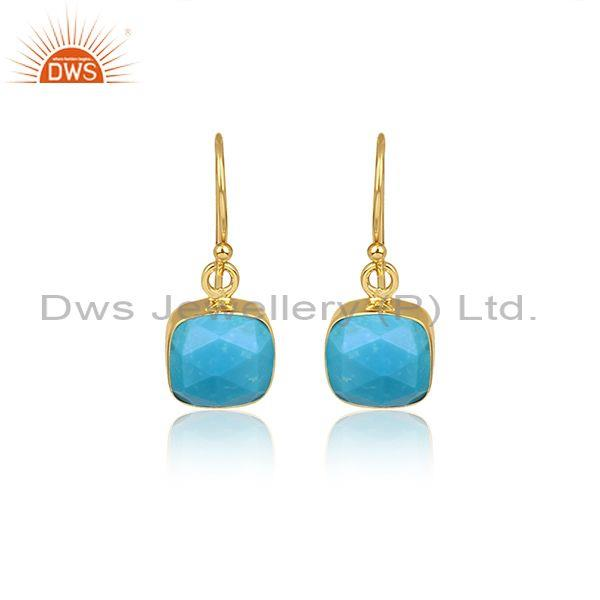 Square Cut Turquoise Set Gold On 925 Silver Drop Earrings