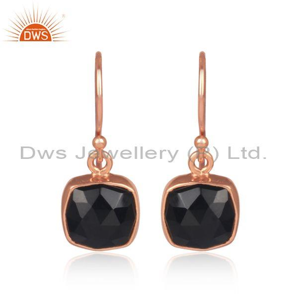 Square black onyx set rose gold on silver earwire earrings