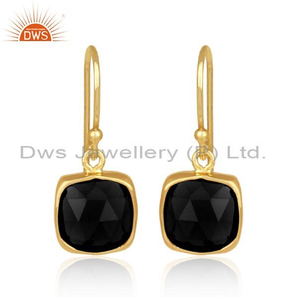Square black onyx set gold on 925 silver earrwire earrings