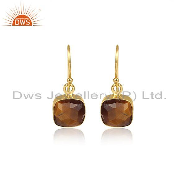 Square Cut Tiger Eye Set Gold On 925 Silver Drop Earrings