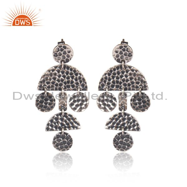 Oxidized 925 Silver Textured Geometric Chandelier Earrings