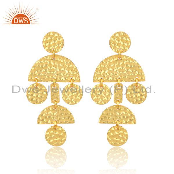 Gold on silver hand hammered designer chandelier earrings