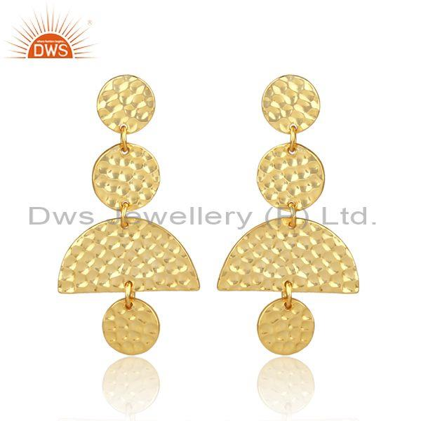 Gold on silver hand hammered geometric chandelier earrings