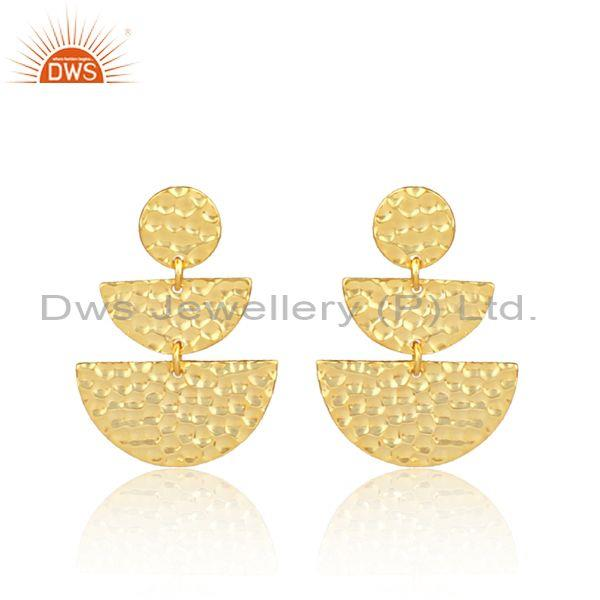 Gold on silver hand hammered half circle chandelier earrings