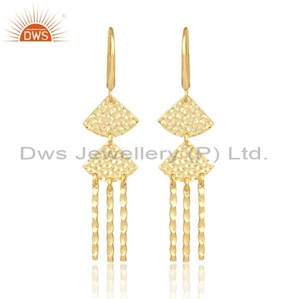 Designer gold on 925 silver long drop traditional earrings