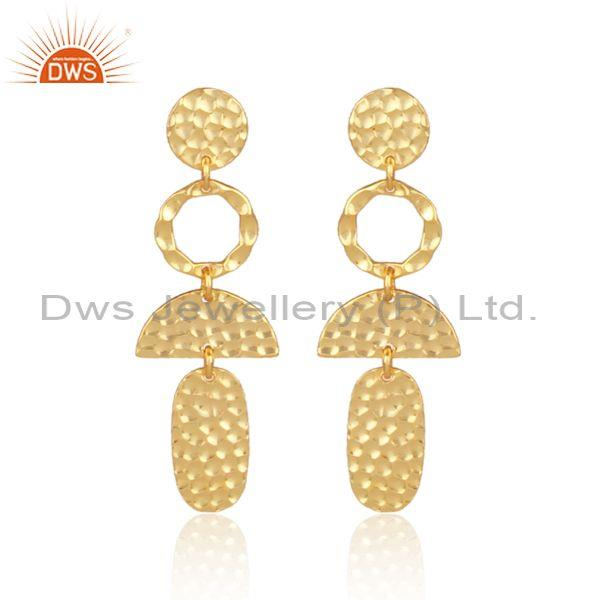 Textured Gold On 925 Silver Design Long Drop Ethnic Earrings