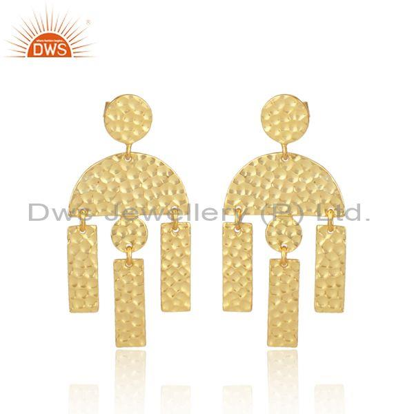 Gold On 925 Silver Long Drop Designer Traditional Earrings