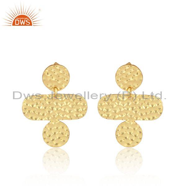Handmade gold on 925 sterling silver textured drop earrings
