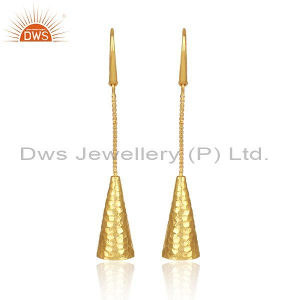 Handmade Gold On Sterling Silver Bell Shaped Drop Earrings