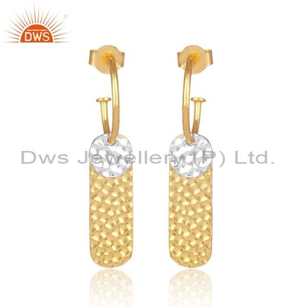 Handmade And Classy Gold On 925 Silver Abstract Earrings