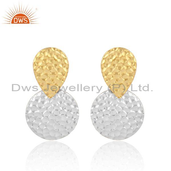 Gold and fine 925 silver round textured designer earrings