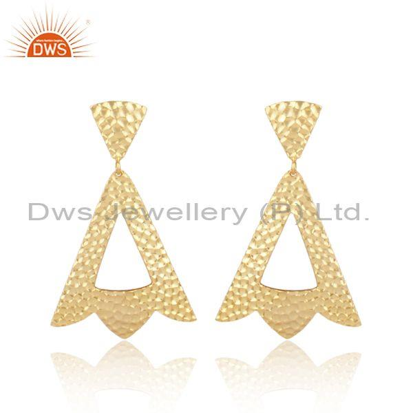 Gold On Sterling Silver Triangle Petals Textured Earrings