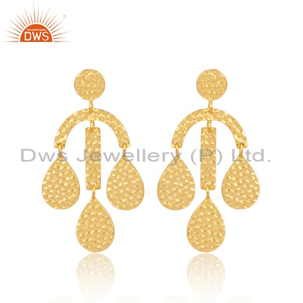 Gold On Sterling Silver Traditional Textured Drop Earrings