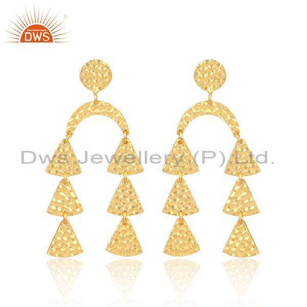 Gold On 925 Sterling Silver Petals Long Drop Ethnic Earrings