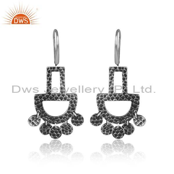 Oxidized 925 Silver Textured Chandelier Earwire Earrings
