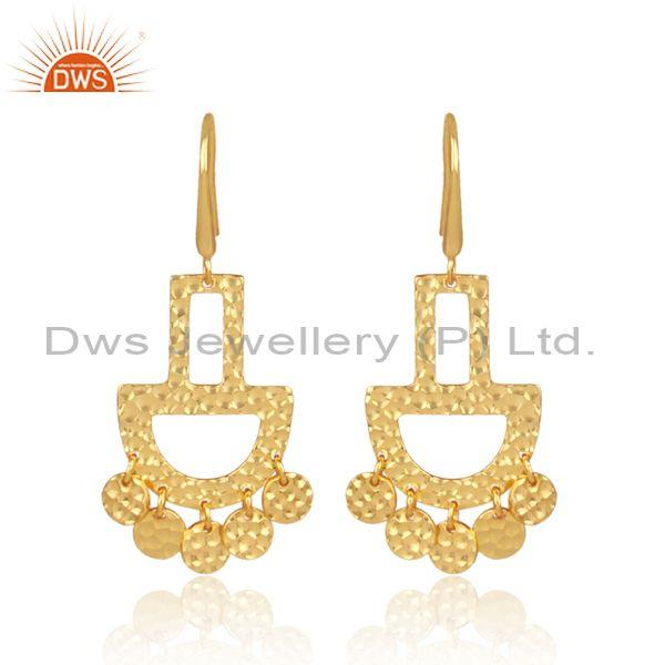 Gold On Sterling Silver Textured Chandbali Ethnic Earrings