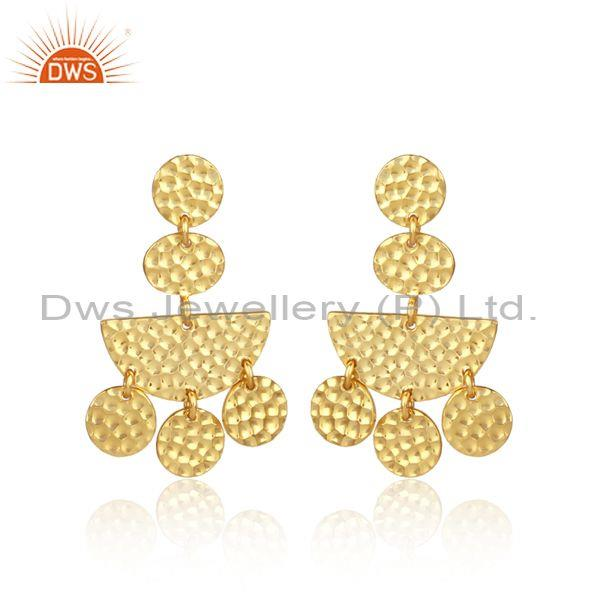 Gold On 925 Sterling Silver Semi-Circle Petals Drop Earrings