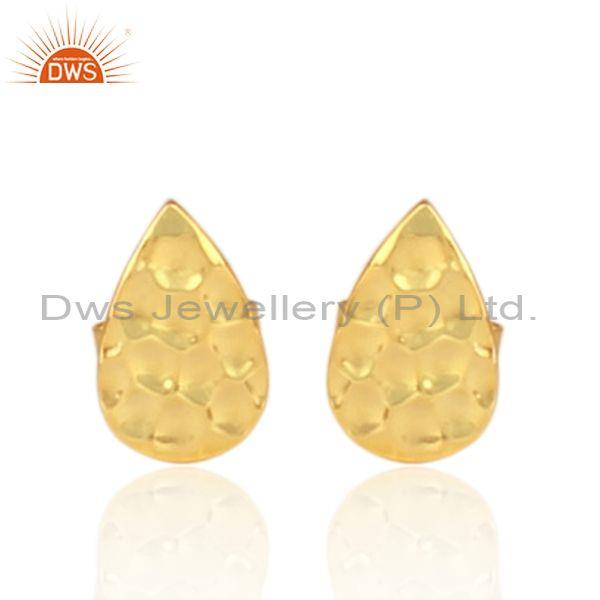 Hand hammered gold on silver tear drop textured stud earring