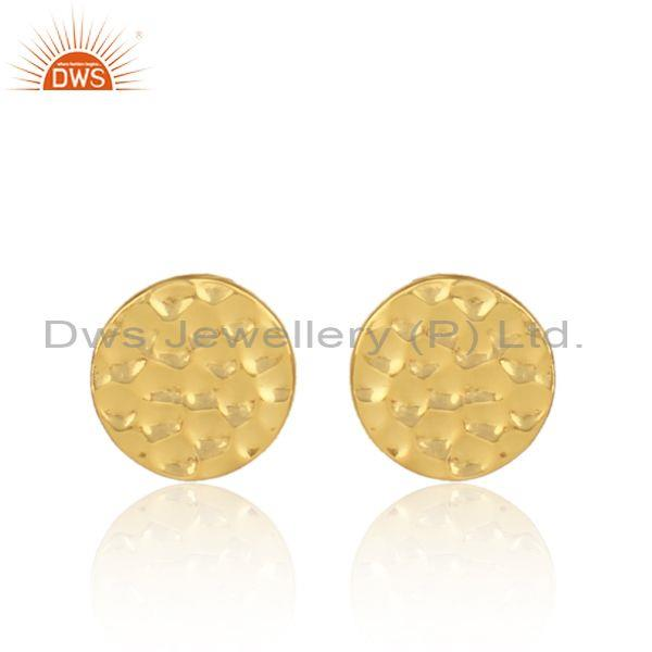 Hand Hammered Textured Gold On Silver Circular Stud Earring