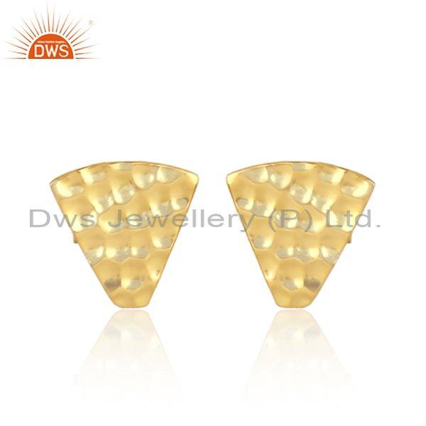 Hand Hammered Textured Gold On Silver Triangular Stud Earring