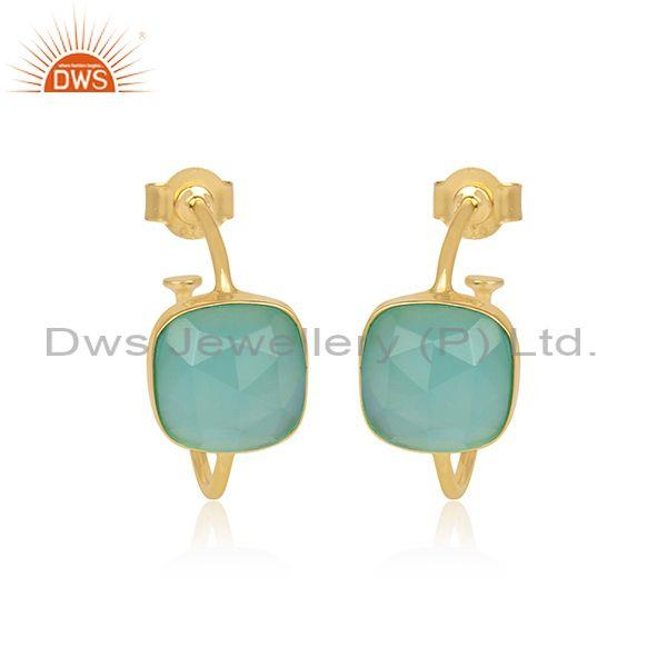 Square Cut Aqua Chalcedony Gold On Silver Half Hoop Earrings