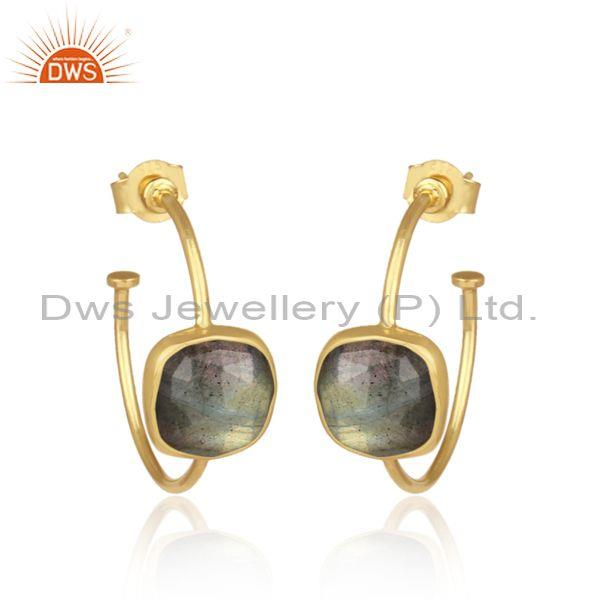 Square cut labradorite set gold on 925 silver hoops earrings