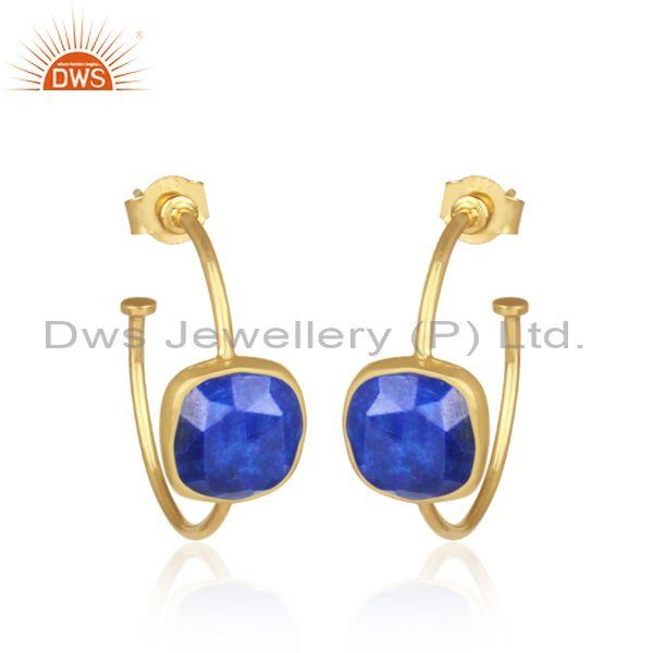 Square cut lapis gold on 925 sterling silver hoops earring