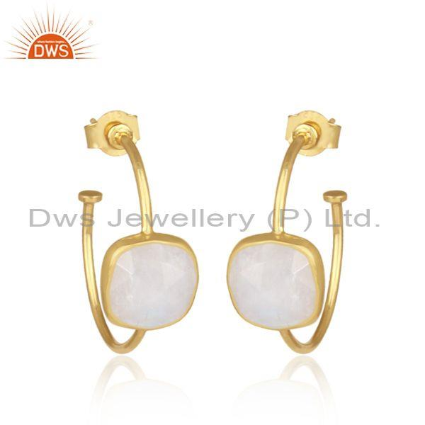 Square cut rainbow moon stone gold on silver hoop earrings