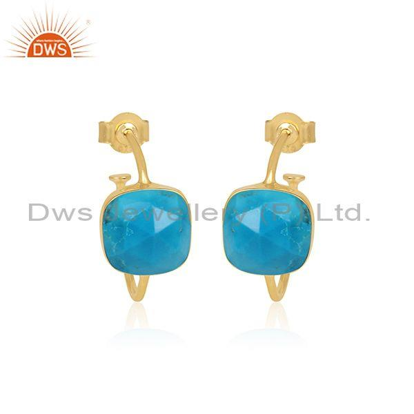 Square Cut Turquoise Set Gold On Silver Half Hoop Earrings