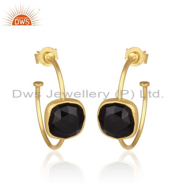 Square cut black onyx set gold on 925 silver hoops earrings
